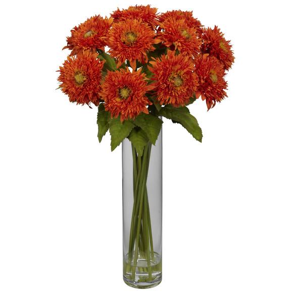 Sunflower w/Cylinder Silk Flower Arrangement - SKU #1246 - 3