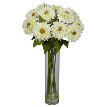 Sunflower w/Cylinder Silk Flower Arrangement - SKU #1246
