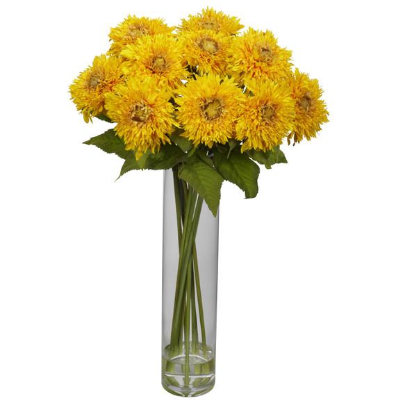 Sunflower w/Cylinder Silk Flower Arrangement - SKU #1246 - 2