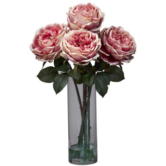 Fancy Rose w/Cylinder Vase Silk Flower Arrangement - SKU #1247 - 1