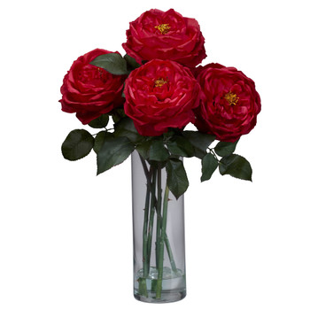 Fancy Rose w/Cylinder Vase Silk Flower Arrangement - SKU #1247