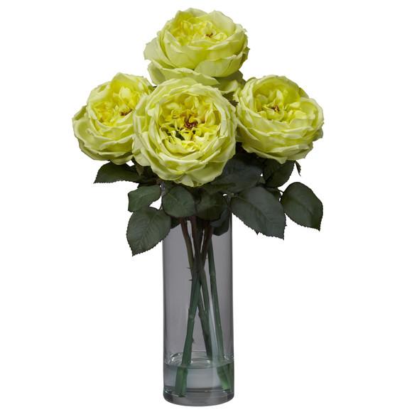 Fancy Rose w/Cylinder Vase Silk Flower Arrangement - SKU #1247 - 2