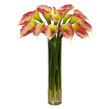 Calla Lilly w/Cylinder Silk Flower Arrangement - SKU #1251