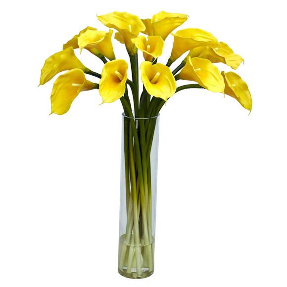 Calla Lilly w/Cylinder Silk Flower Arrangement - SKU #1251 - 1