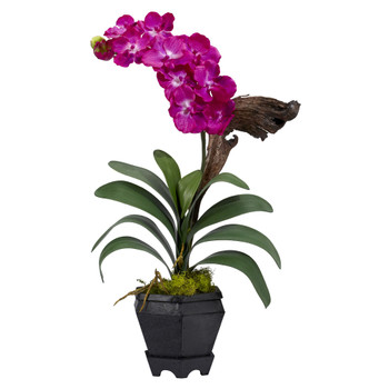 Vanda w/Black Hexagon Vase Silk Arrangement - SKU #1252