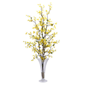 Forstyhia w/Vase Silk Flower Arrangement - SKU #1254