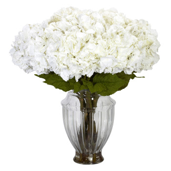 Large Hydrangea w/European Vase Silk Flower Arrangement - SKU #1255