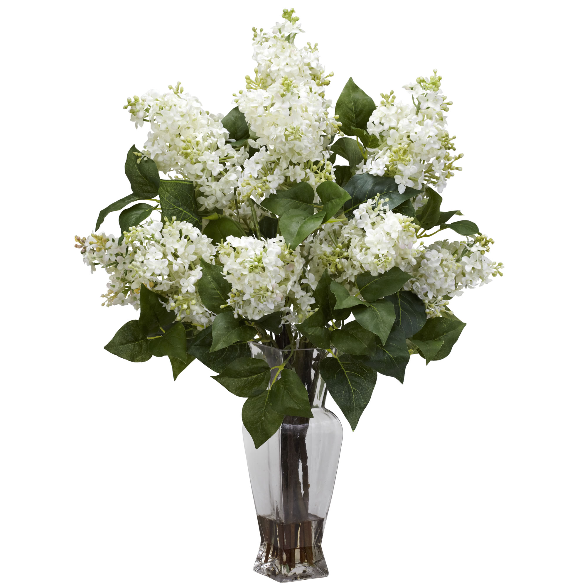 Details About Artificial 24 Lilac Silk Flowers Floral Arrangement In Faux Water Glass Vase