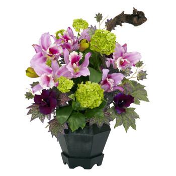 Mixed Cattleya Hydrangea Silk Arrangement - SKU #1257