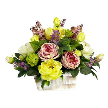 Mixed Floral w/White Wash Planter Silk Arrangement - SKU #1258
