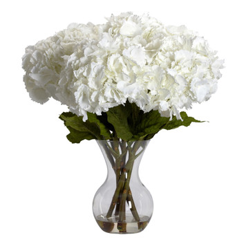 Large Hydrangea w/Vase Silk Flower Arrangement - SKU #1260