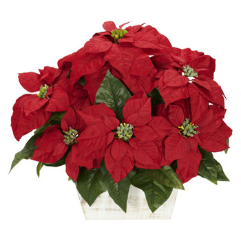 Poinsettia w/White Wash Planter Silk Arrangement - SKU #1262
