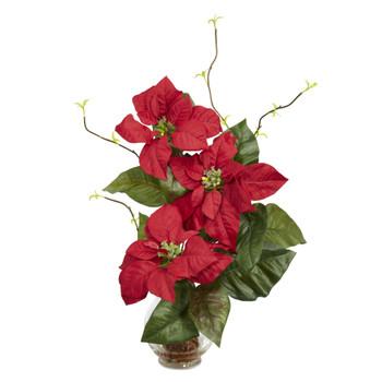 Poinsettia w/Fluted Vase Silk Flower Arrangement - SKU #1263