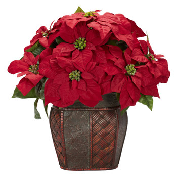 Poinsettia w/Decorative Vase Silk Arrangement - SKU #1264