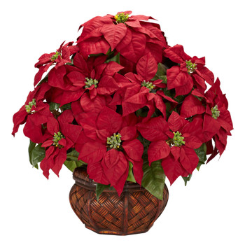 Poinsettia w/Decorative Planter Silk arrangement - SKU #1265
