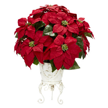 Poinsettia w/Metal Planter Silk Flower Arrangement - SKU #1267