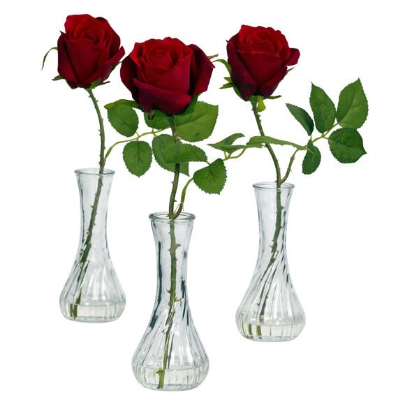 Rose w/Bud Vase Set of 3 - SKU #1269-S3