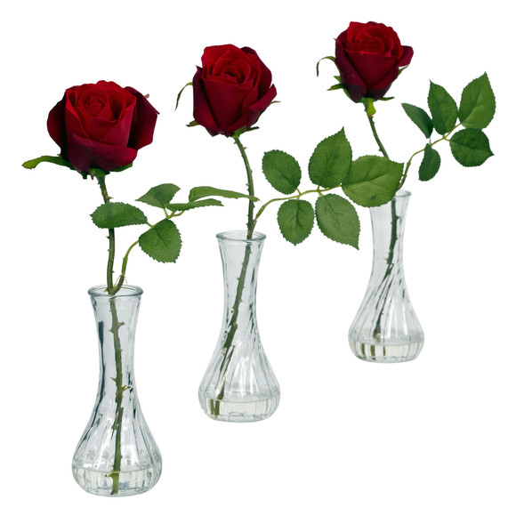 Rose w/Bud Vase Set of 3 - SKU #1269-S3 - 1