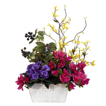 Mixed Floral w/Azalea White Wash Planter Silk Arrangement - SKU #1270