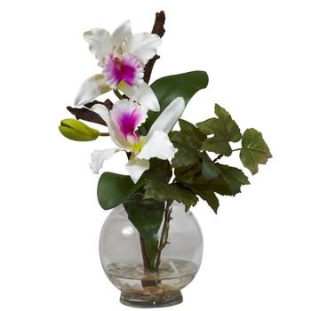 Mini Cattleya w/Fluted Vase Silk Flower Arrangement - SKU #1275
