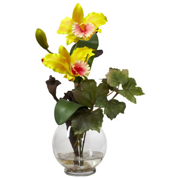 Mini Cattleya w/Fluted Vase Silk Flower Arrangement - SKU #1275-YL