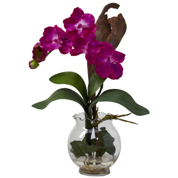 Mini Vanda w/Fluted Vase Silk Flower Arrangement - SKU #1276