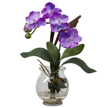 Mini Vanda w/Fluted Vase Silk Flower Arrangement - SKU #1276-PP