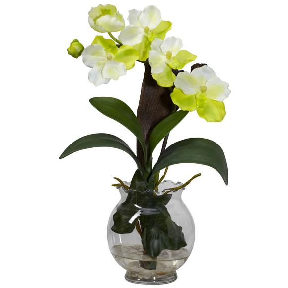 Mini Vanda w/Fluted Vase Silk Flower Arrangement - SKU #1276 - 1