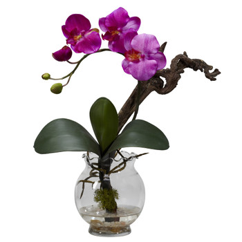 Mini Phalaenopsis w/Fluted Vase Silk Flower Arrangement - SKU #1277