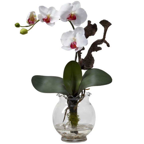 Mini Phalaenopsis w/Fluted Vase Silk Flower Arrangement - SKU #1277 - 1