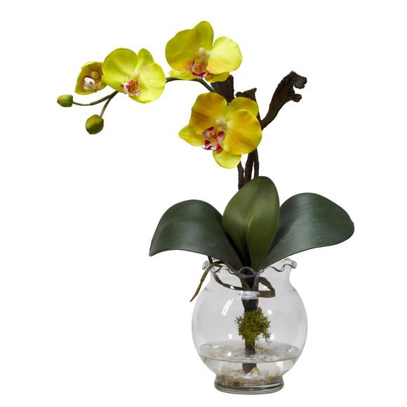 Mini Phalaenopsis w/Fluted Vase Silk Flower Arrangement - SKU #1277 - 3