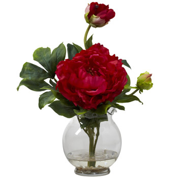 Peony w/Fluted Vase Silk Flower Arrangement - SKU #1278