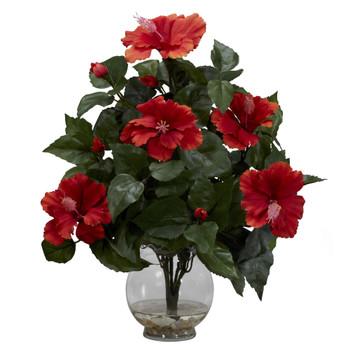 Hibiscus w/Fluted Vase Silk Flower Arrangement - SKU #1279