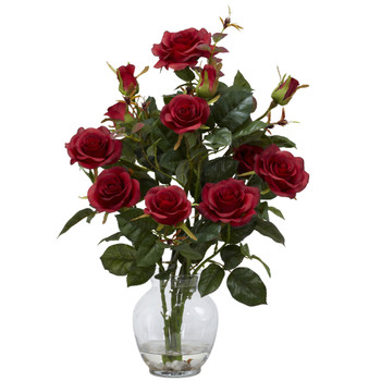 Rose Bush w/Vase Silk Flower Arrangement - SKU #1281