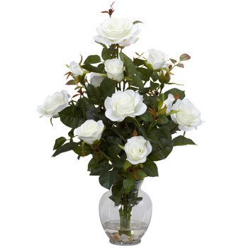Rose Bush w/Vase Silk Flower Arrangement - SKU #1281-WH