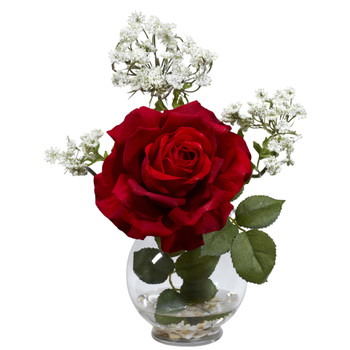 Rose Gypso w/Fluted Vase Silk Flower Arrangement - SKU #1282