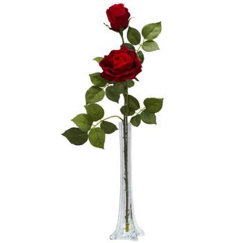 Roses w/Tall Bud Vase Silk Flower Arrangement - SKU #1283