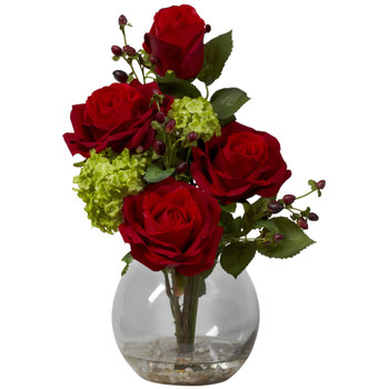Rose Hydrangea Silk Flower Arrangement - SKU #1284