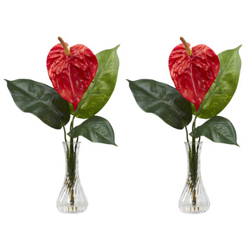 Anthurium w/Bud Vase Silk Flower Arrangement Set of 2 - SKU #1286