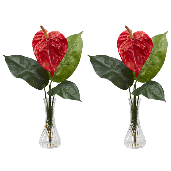 Anthurium w/Bud Vase Silk Flower Arrangement Set of 2 - SKU #1286