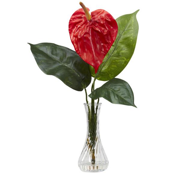 Anthurium w/Bud Vase Silk Flower Arrangement Set of 2 - SKU #1286 - 1