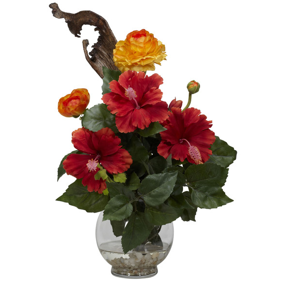 Hibiscus Ranunculus w/Fluted Bowl Silk Flower Arrangement - SKU #1287