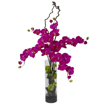 Giant Phalaenopsis Hydrangea Silk Flower Arrangement - SKU #1288-OR