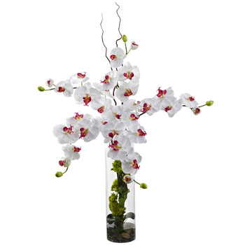 Giant Phalaenopsis Hydrangea Silk Flower Arrangement - SKU #1288-WH
