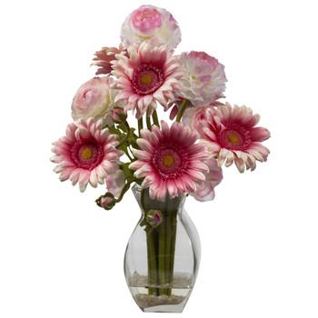 Gerber Daisy Ranunculus Delight Arrangement - SKU #1298-PK