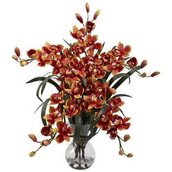 Large Cymbidium w/Vase Arrangement - SKU #1300-BG
