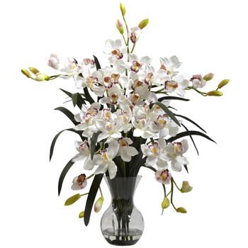 Large Cymbidium w/Vase Arrangement - SKU #1300-WH