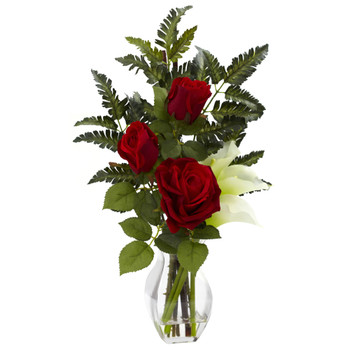 Rose Calla w/Vase Arrangement - SKU #1306-CR