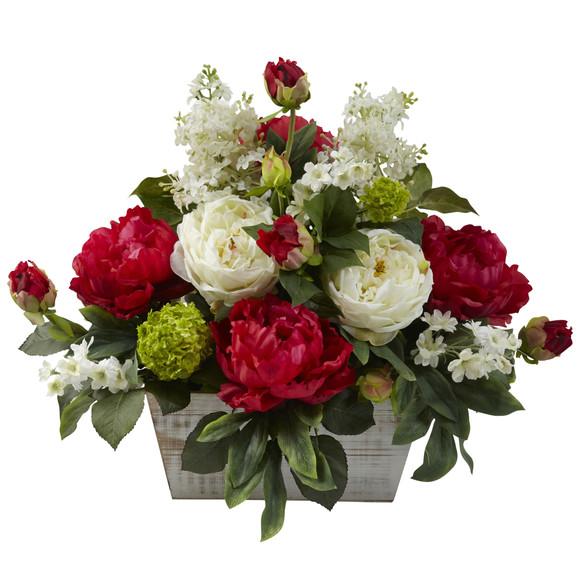 Mixed Floral Arrangement w/White Wash Planter - SKU #1320