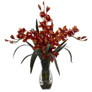 Triple Cymbidium w/Vase Arrangement - SKU #1322-BG